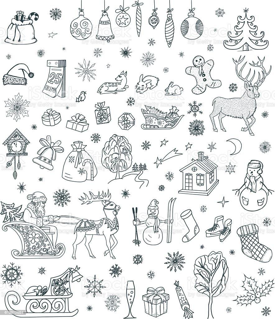 Christmas Doodles Set vector art illustration