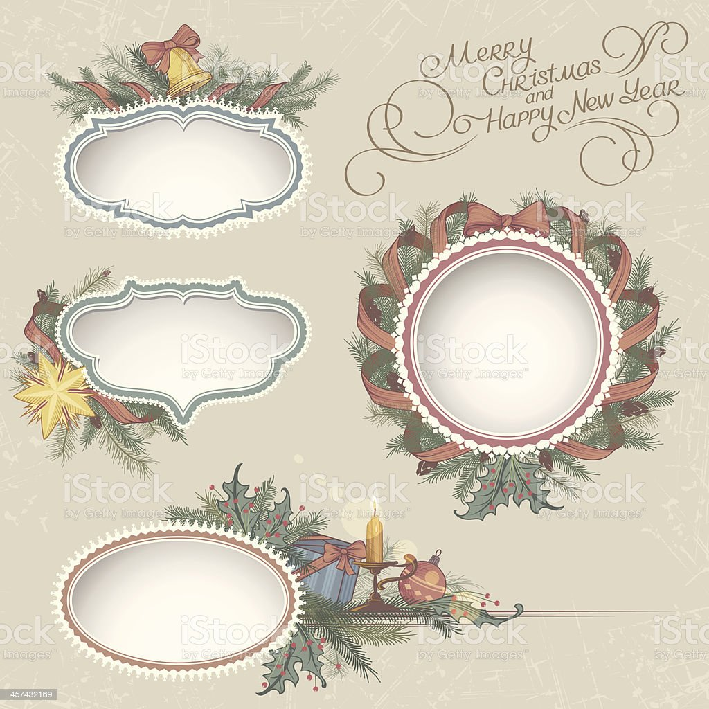 Christmas Drawn Vintage Frames royalty-free stock vector art