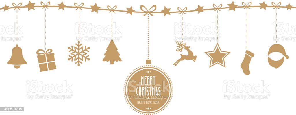 christmas elements hanging line gold isolated background vector art illustration