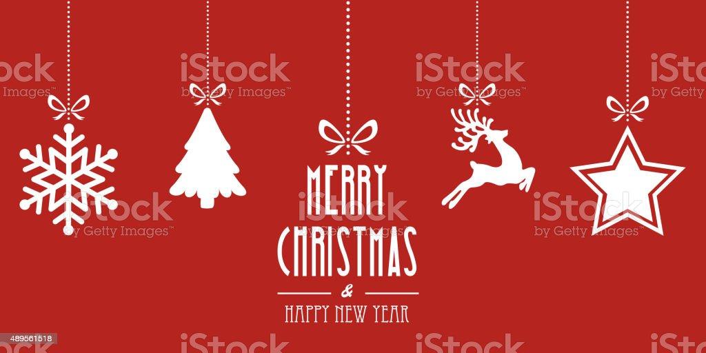 christmas elements hanging red background vector art illustration
