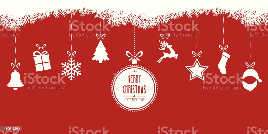 christmas elements hanging red background vector art illustration