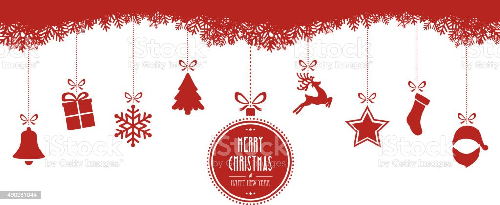 christmas elements hanging red isolated background vector art illustration