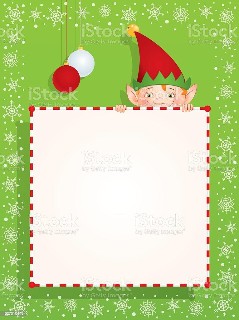 Christmas elf behind a blank banner vector art illustration