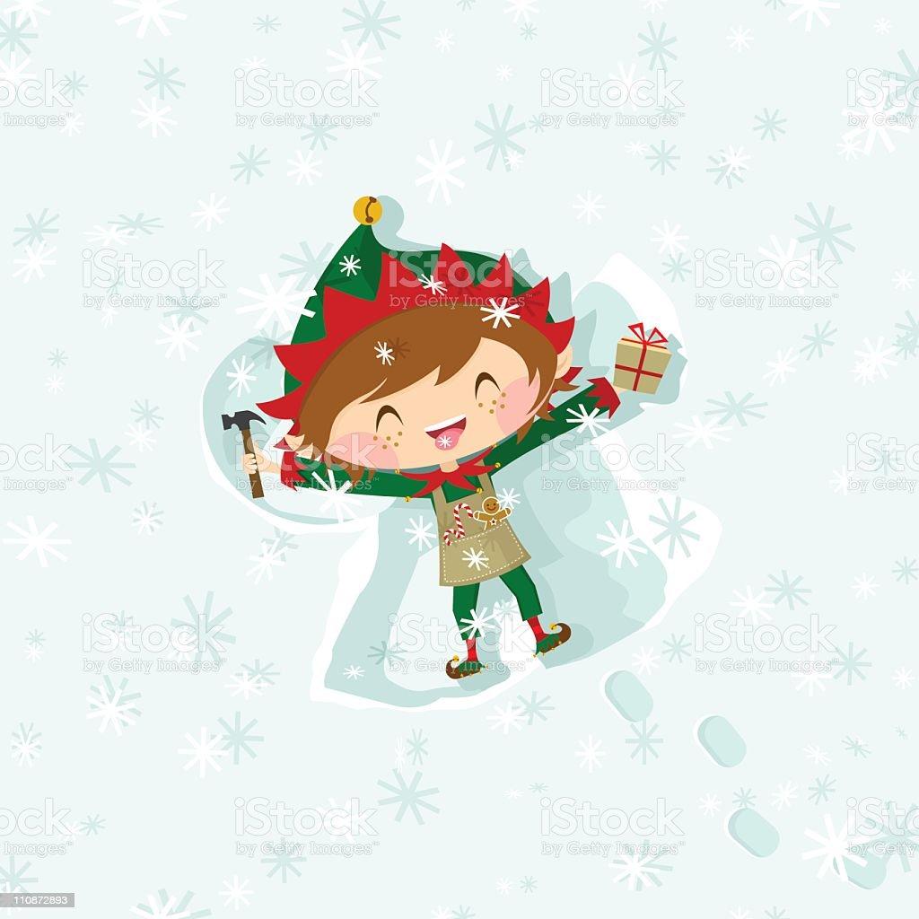 Christmas elf boy eating snowflakes & making an snow angel vector art illustration