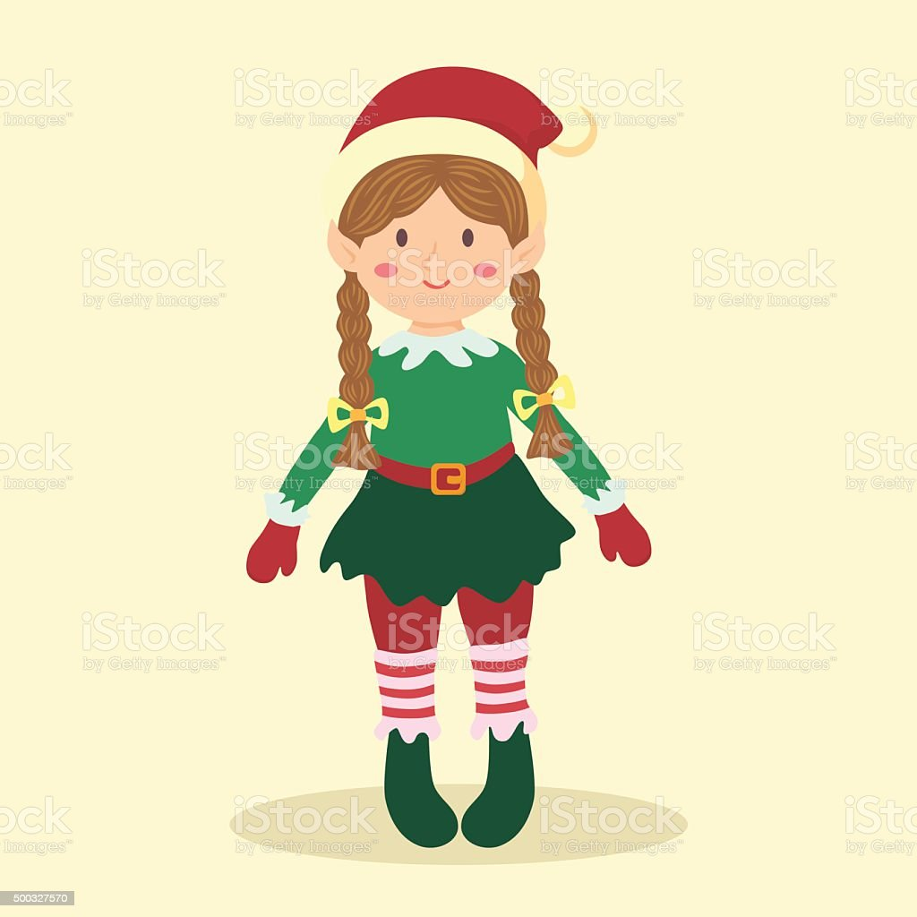Christmas Elf Braid Girl vector art illustration