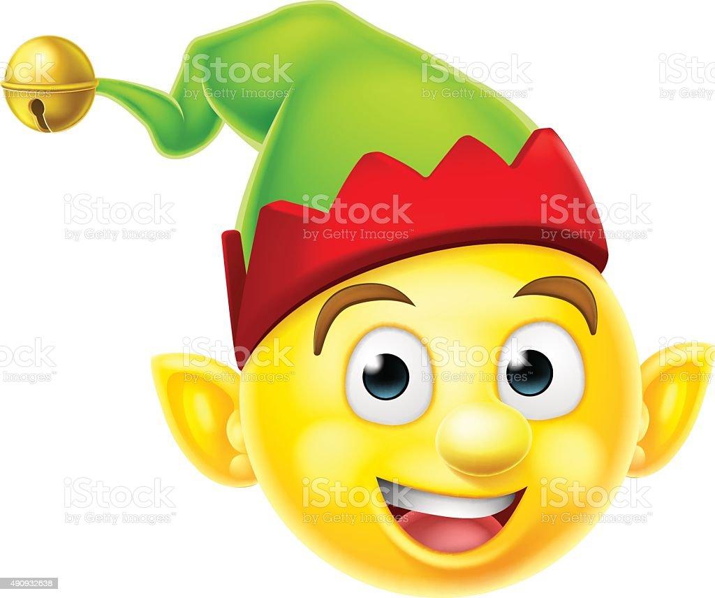 Christmas Elf Emoticon vector art illustration