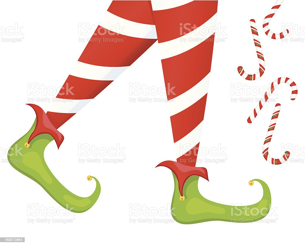 Christmas Elf Legs And Candy Canes royalty-free stock vector art