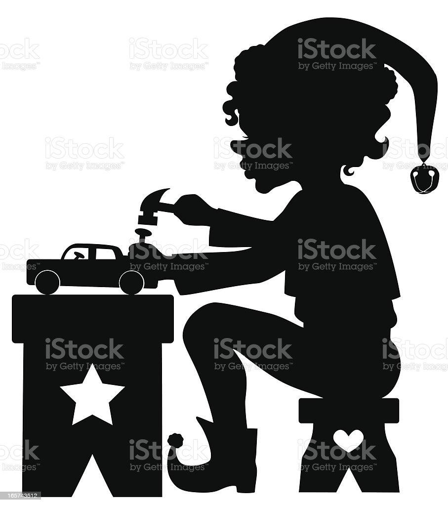 Christmas elf making a toy vector art illustration