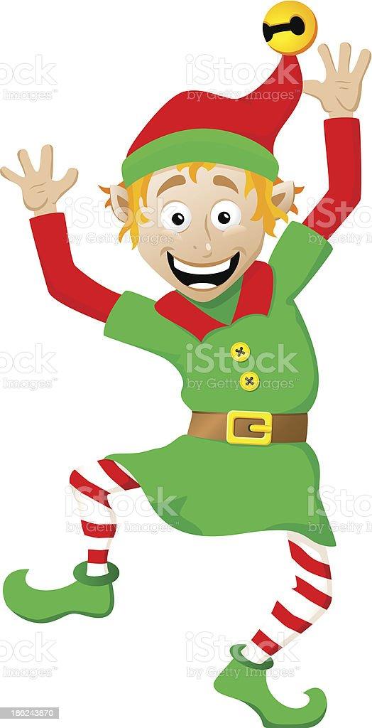 christmas elf on white background vector art illustration