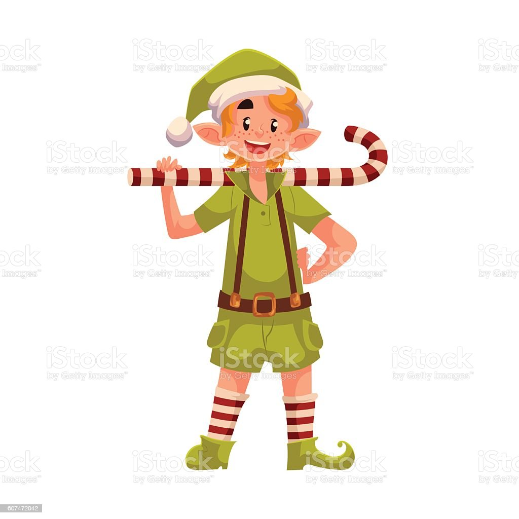 Christmas elf with a candy cane vector art illustration