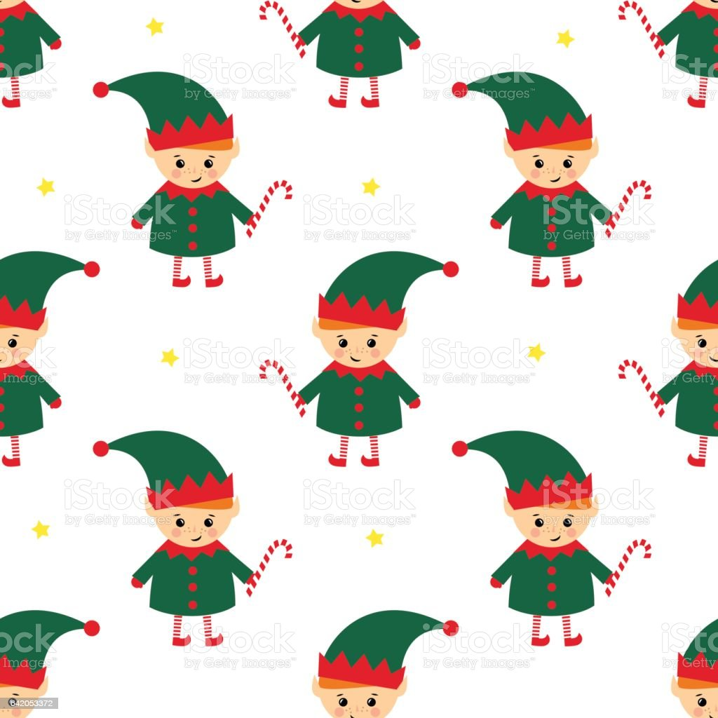Christmas elf with candy cane seamless pattern on white background. vector art illustration