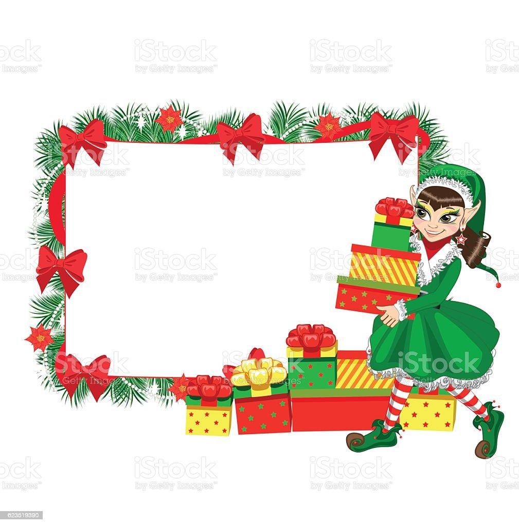Christmas Elf With Empty Frame stock vector art 623519390