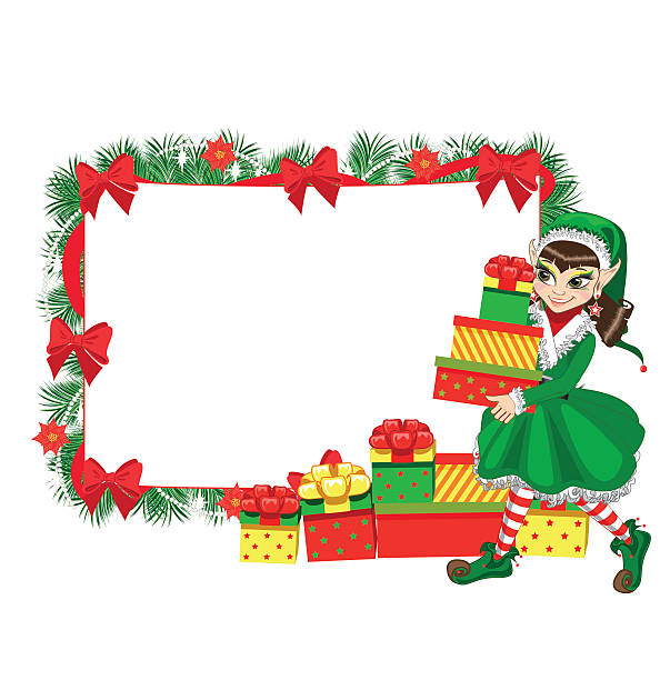 Christmas Frame With Girl Elf Clip Art, Vector Images