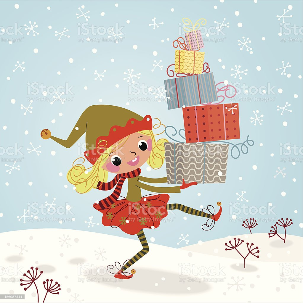 Christmas Elf with Gifts royalty-free stock vector art