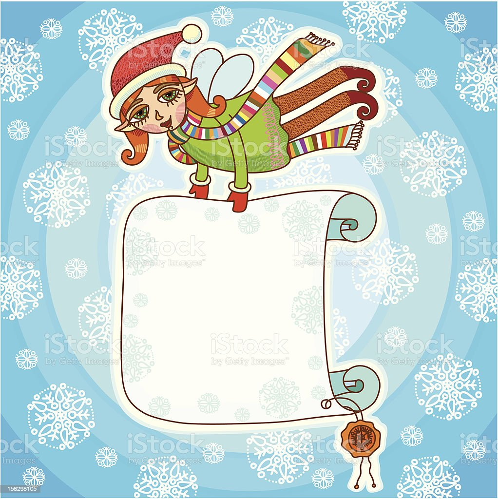 Christmas elf with placard royalty-free stock vector art