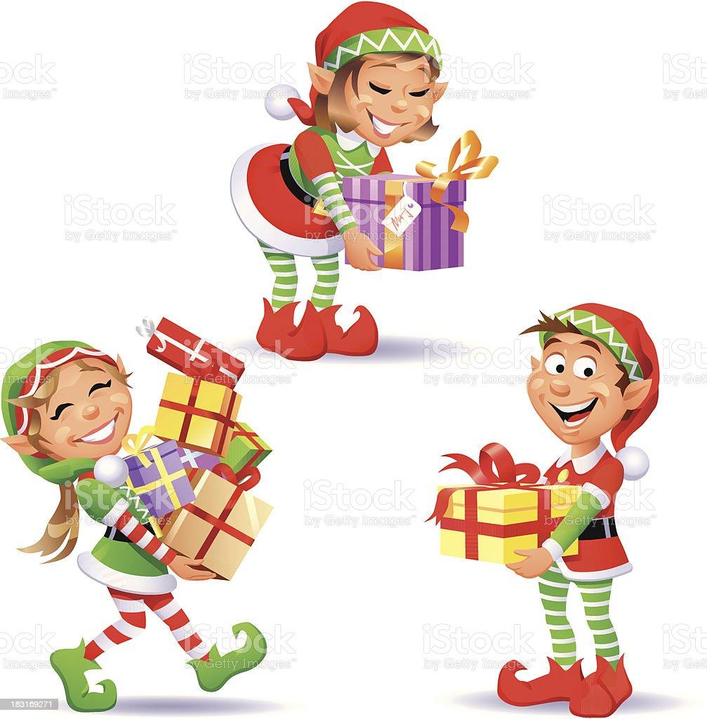 Christmas Elves 4 vector art illustration