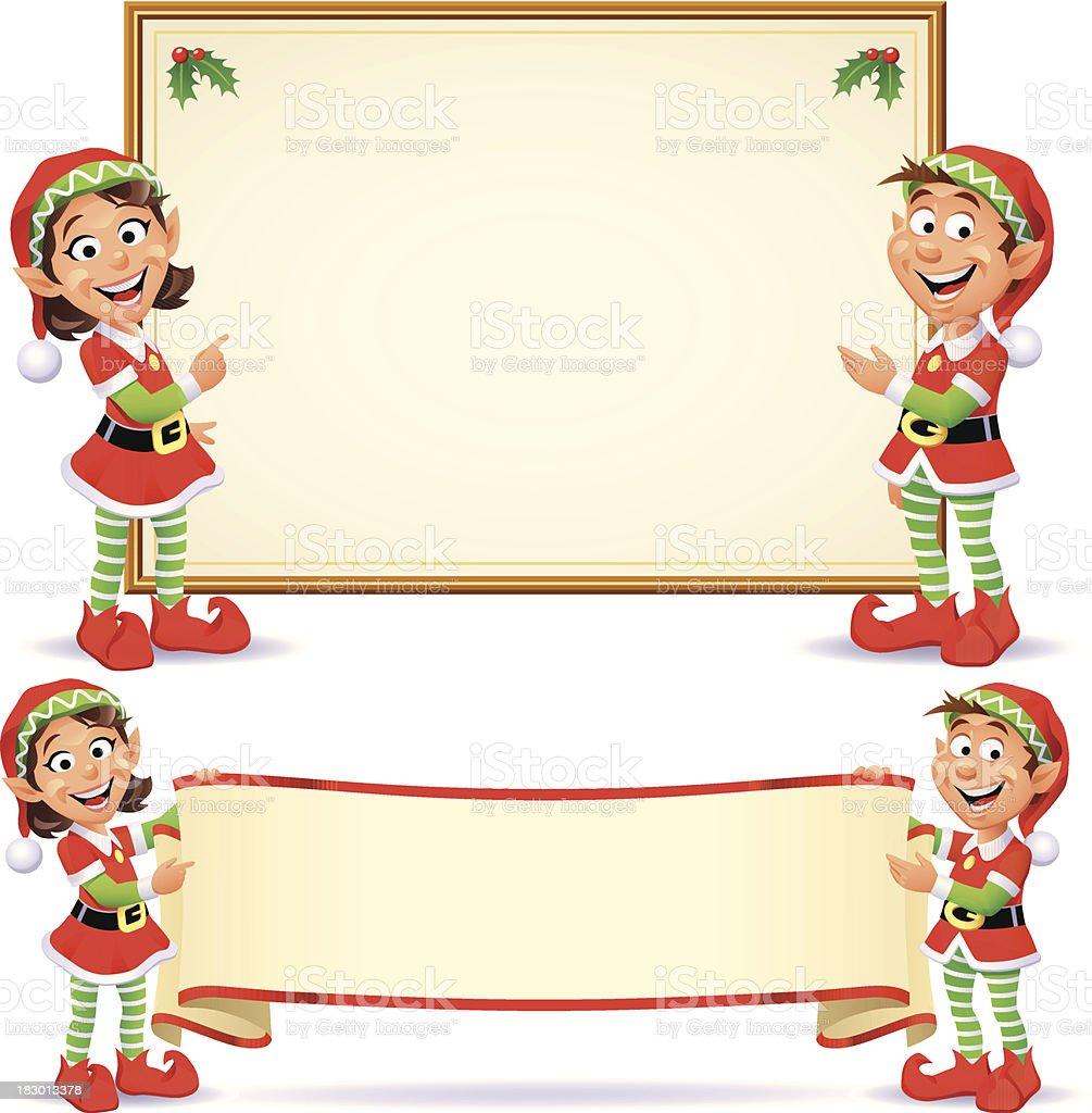 Christmas Elves Banners royalty-free stock vector art