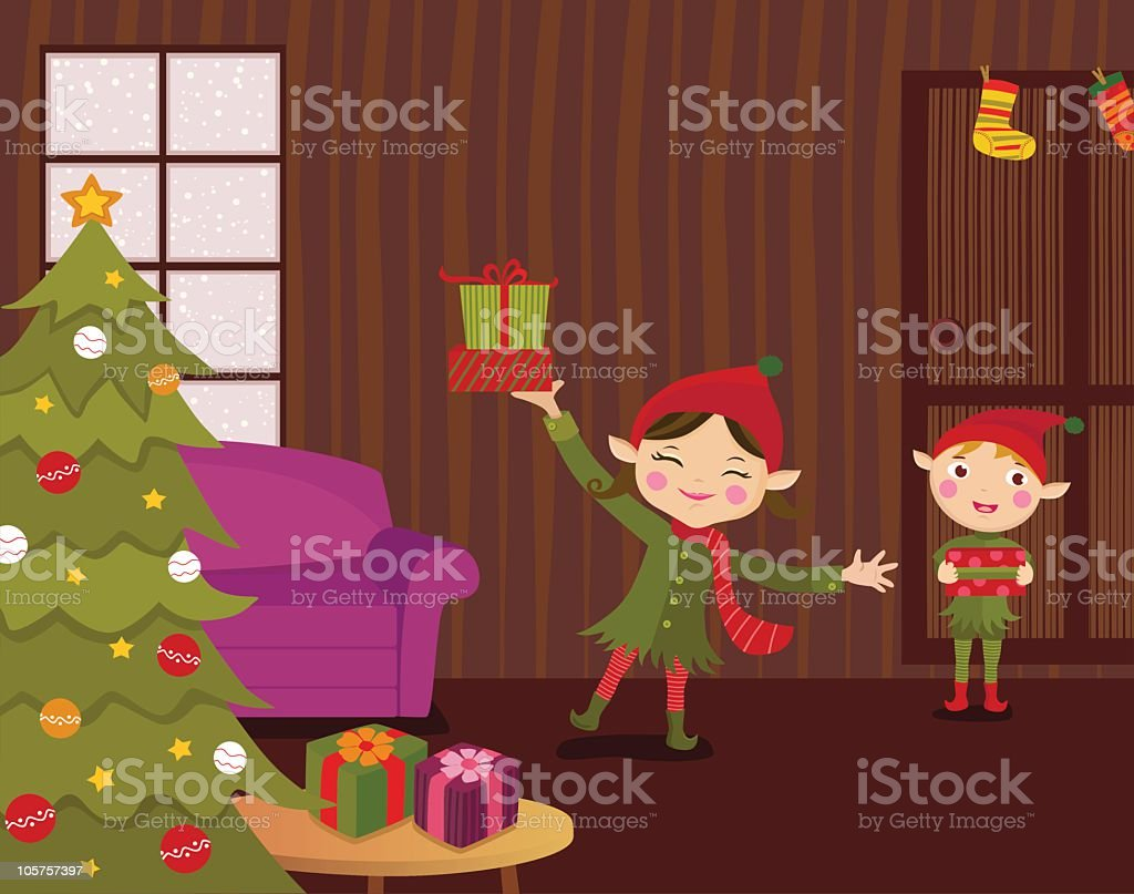 Christmas Elves Delivering Presents royalty-free stock vector art