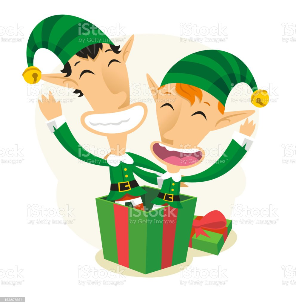 Christmas Elves Elf Santas Helpers Surprise royalty-free stock vector art