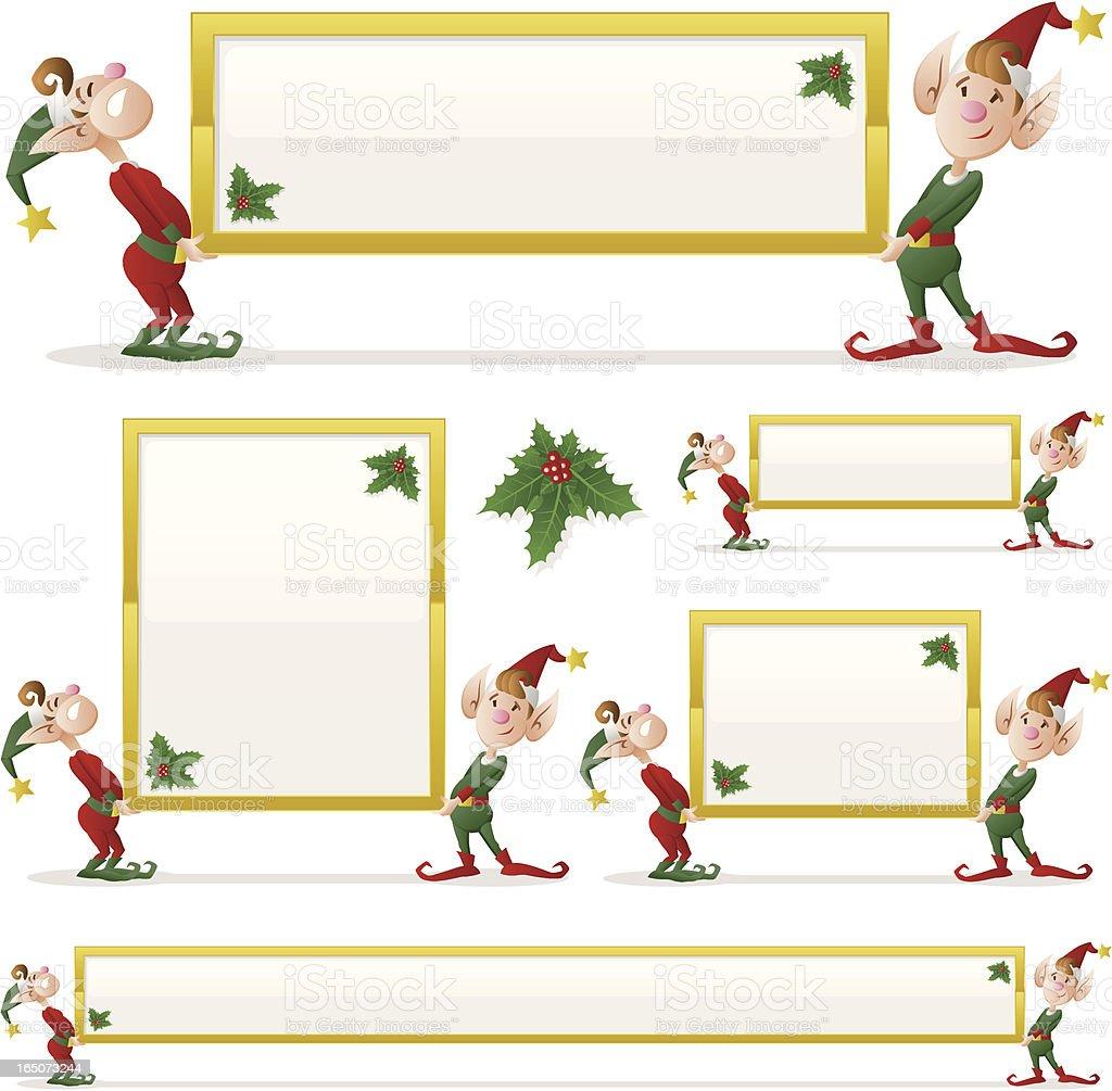 Christmas Elves Holding Sign royalty-free stock vector art