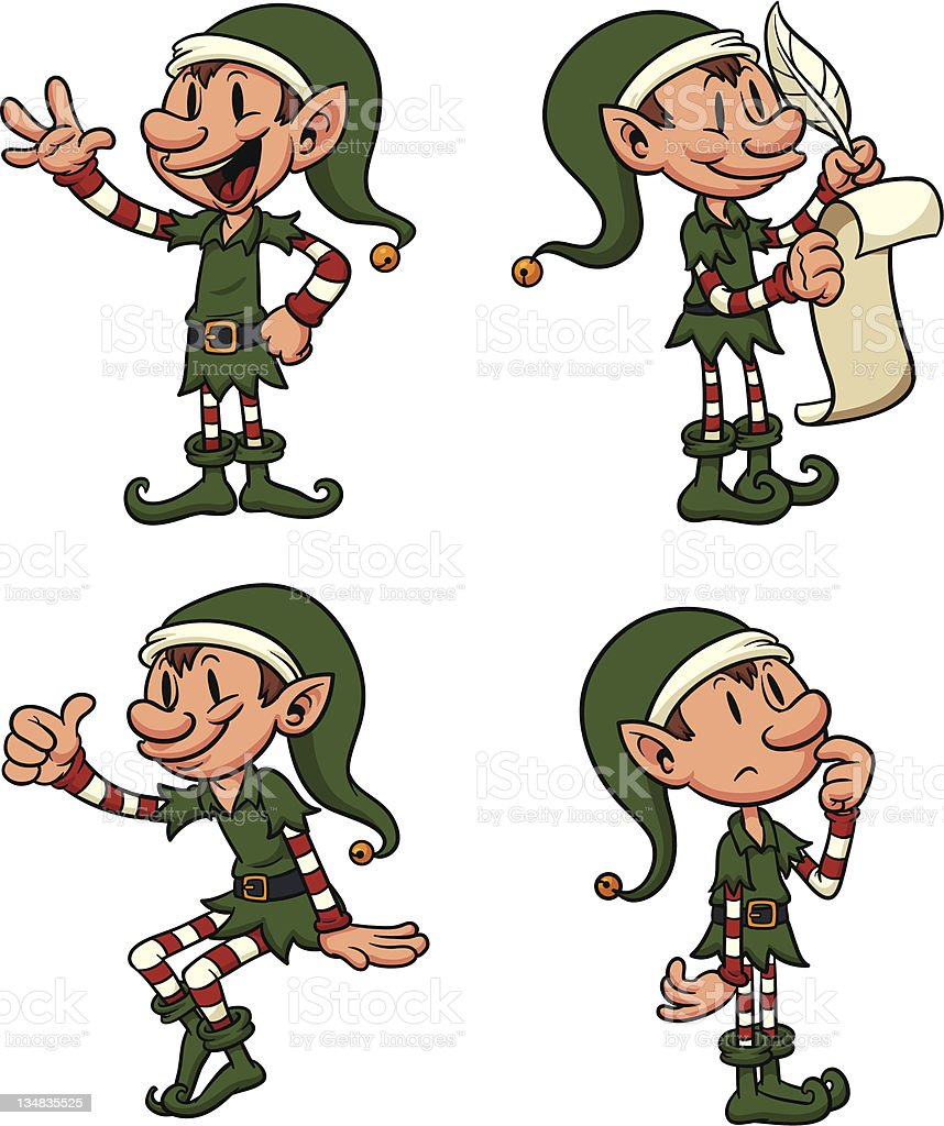 Christmas Elves royalty-free stock vector art