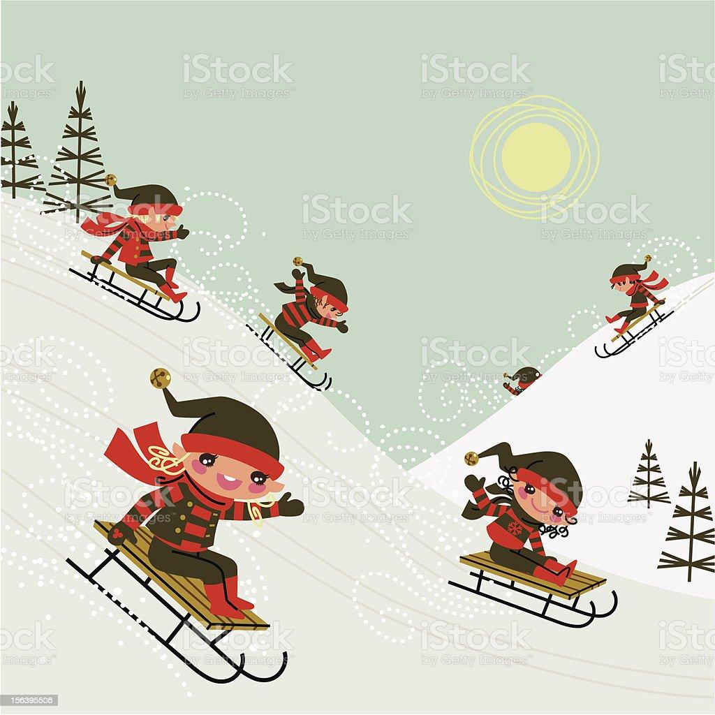 Christmas elves. royalty-free stock vector art