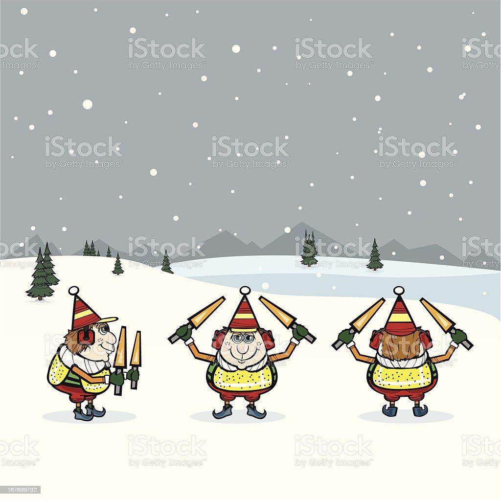 Christmas elves-ground crew royalty-free stock vector art