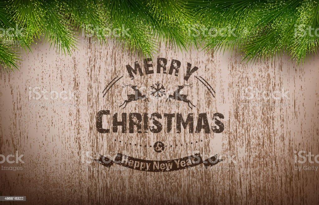 Christmas emblem on wooden texture vector art illustration