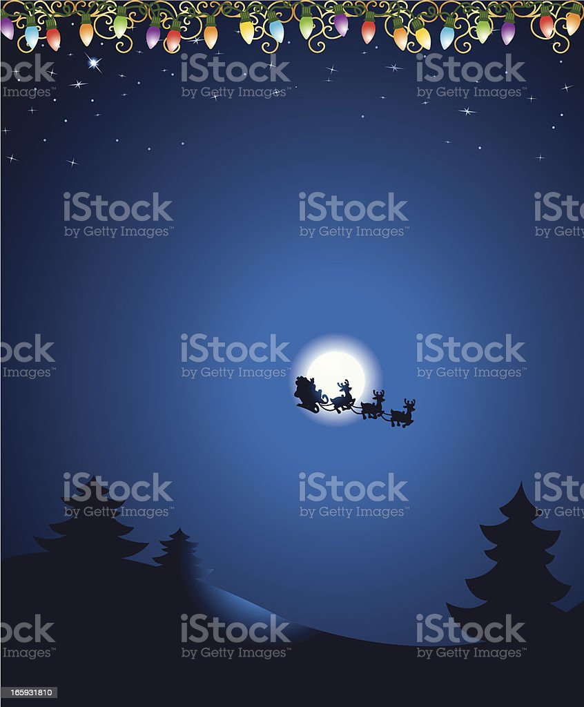 Christmas Eve Background with Santa and Lights royalty-free stock vector art