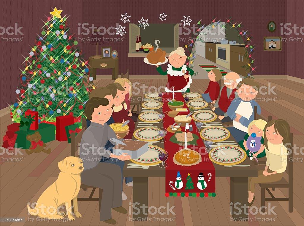 Christmas Eve Dinner at Grandma's House vector art illustration