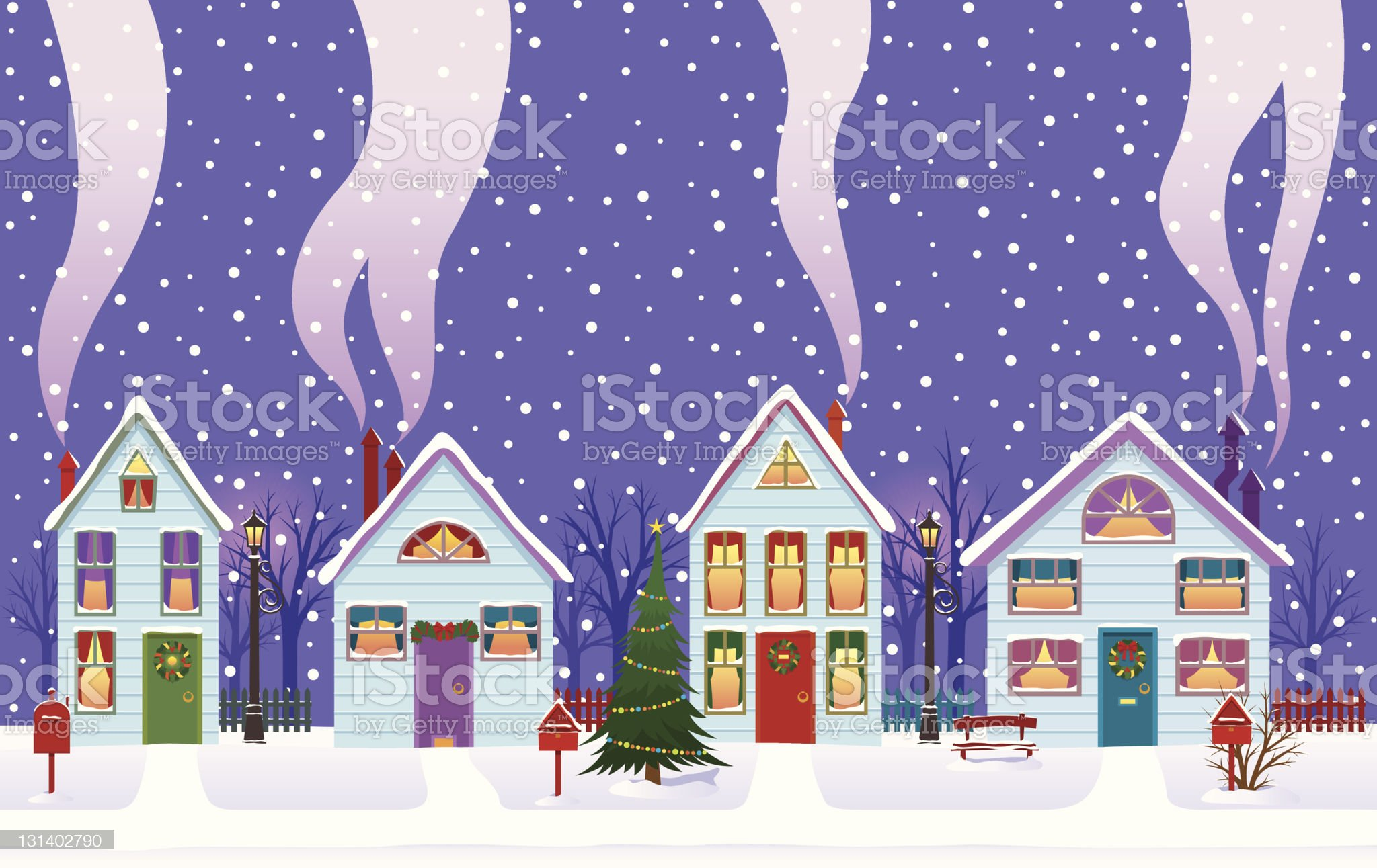 Christmas Eve in the city royalty-free stock vector art