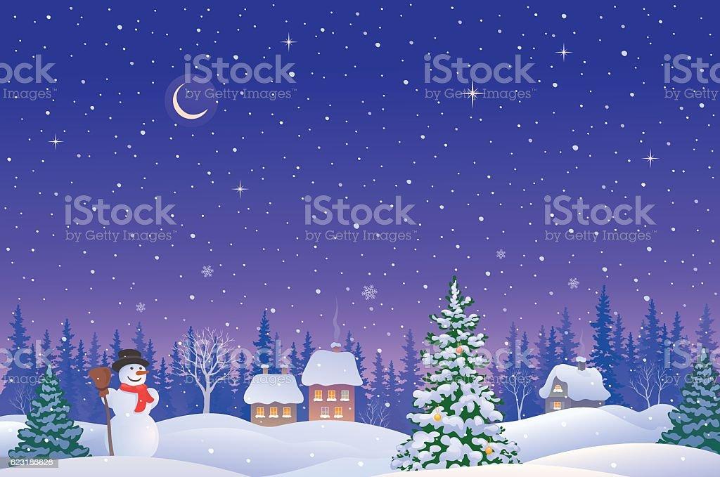 Christmas eve landscape vector art illustration