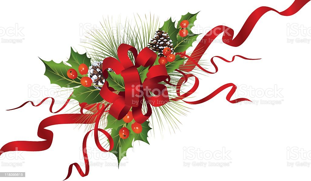 Christmas Evergreens Decoration & Red Ribbon Bow Ornament royalty-free stock vector art
