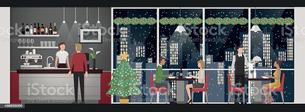 Christmas eve's dinner at the restaurant vector art illustration
