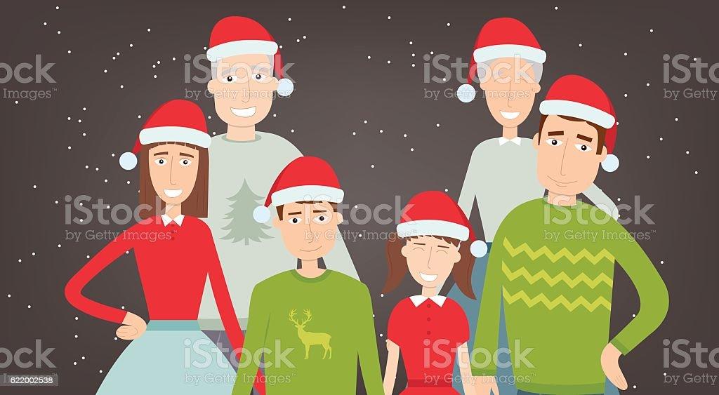 Christmas family portrait. Family holidays. Vector royalty-free stock vector art