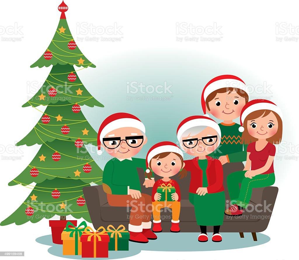 Christmas family portrait vector art illustration