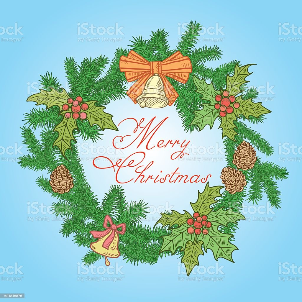 Christmas festive wreath of branches of Christmas trees with decorations vector art illustration
