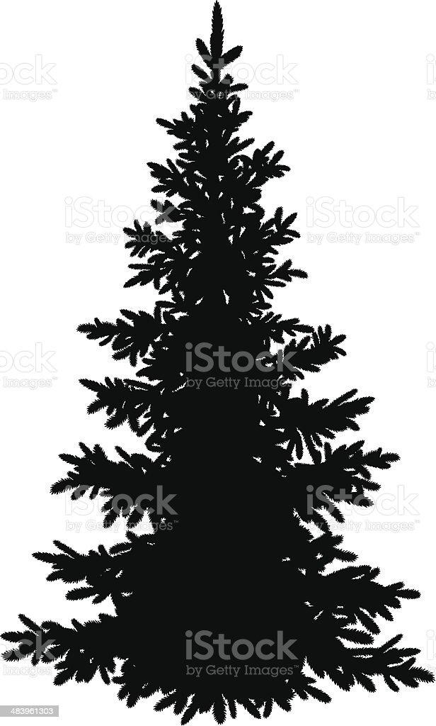 Christmas fir tree, silhouette vector art illustration