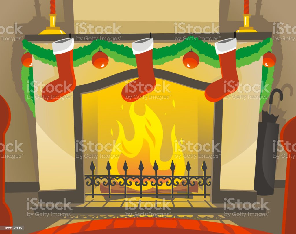 Christmas fireplace Decoration With Boots and Red Spheres royalty-free stock vector art