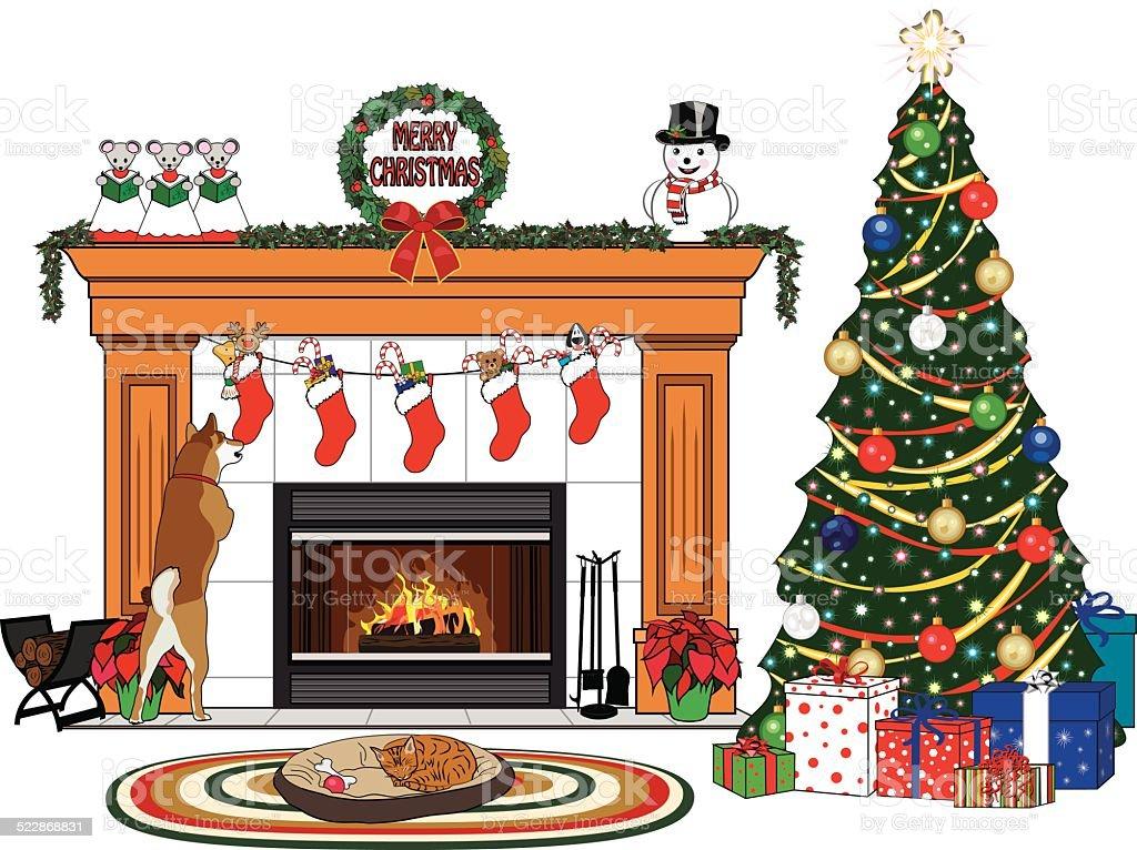 Fireplace Design fireplace scene : Christmas Fireplace Scene stock vector art 522868831   iStock
