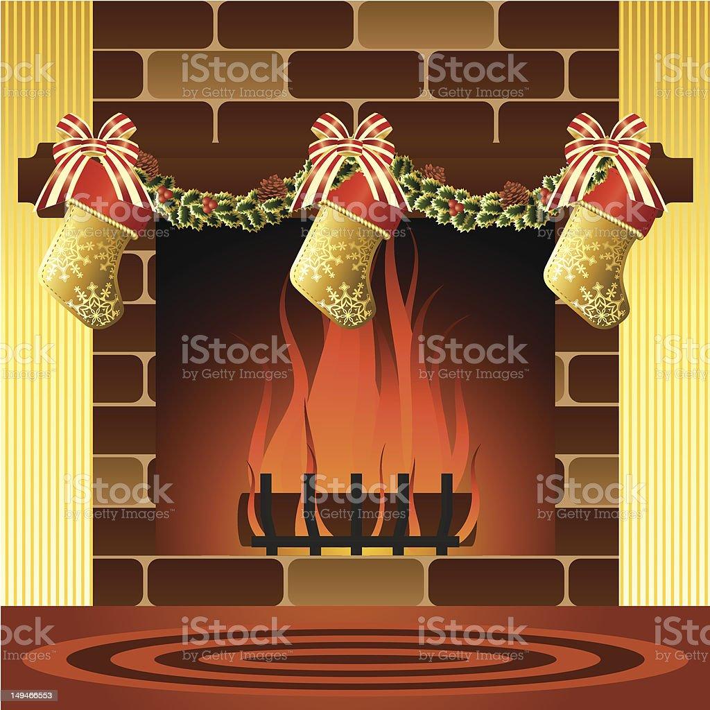 Christmas Fireplace royalty-free stock vector art