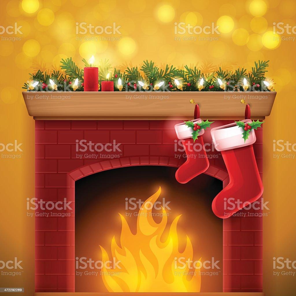 Christmas Fireplace vector art illustration