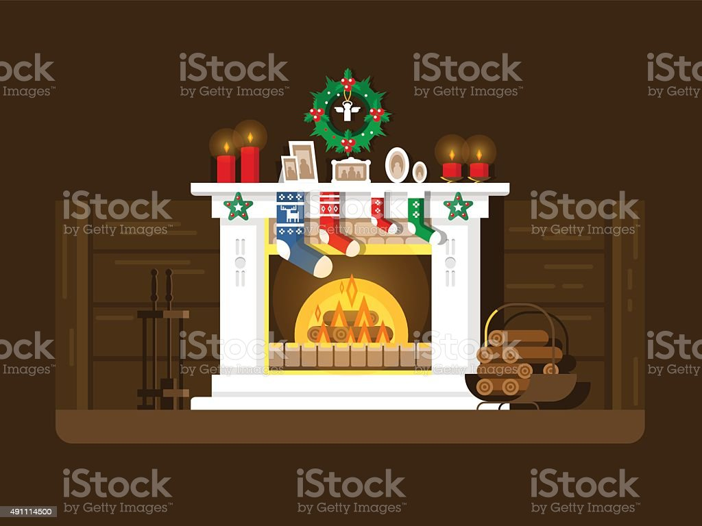 Christmas fireplace vector art illustration