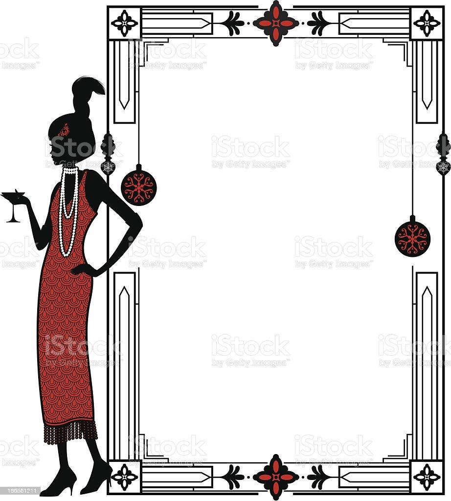 Christmas Flapper Frame vector art illustration