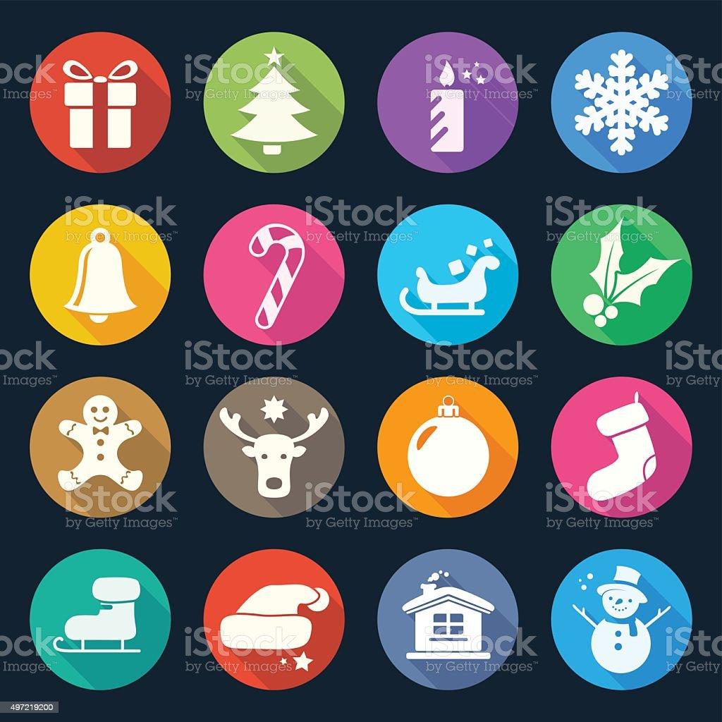 Christmas Flat Icons Set 2 vector art illustration