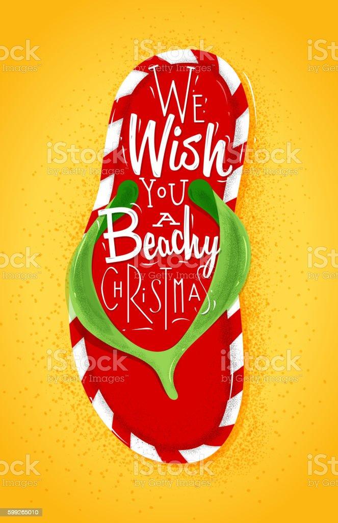 Christmas flip flop poster vector art illustration