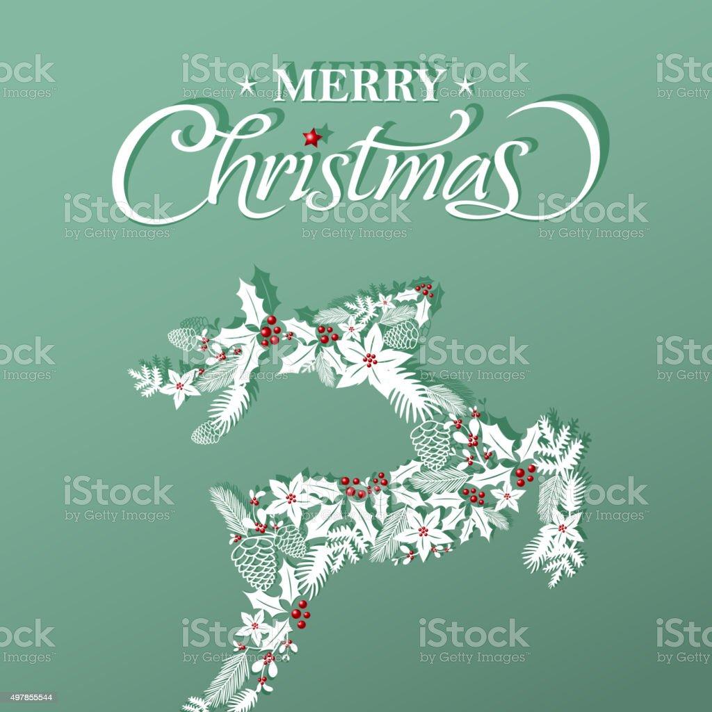 Christmas floral in reindeer shape papercut art vector art illustration