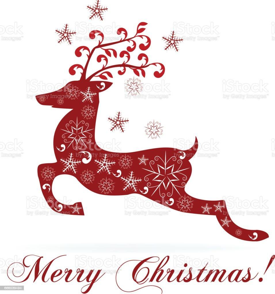 Christmas floral reindeer card vector art illustration