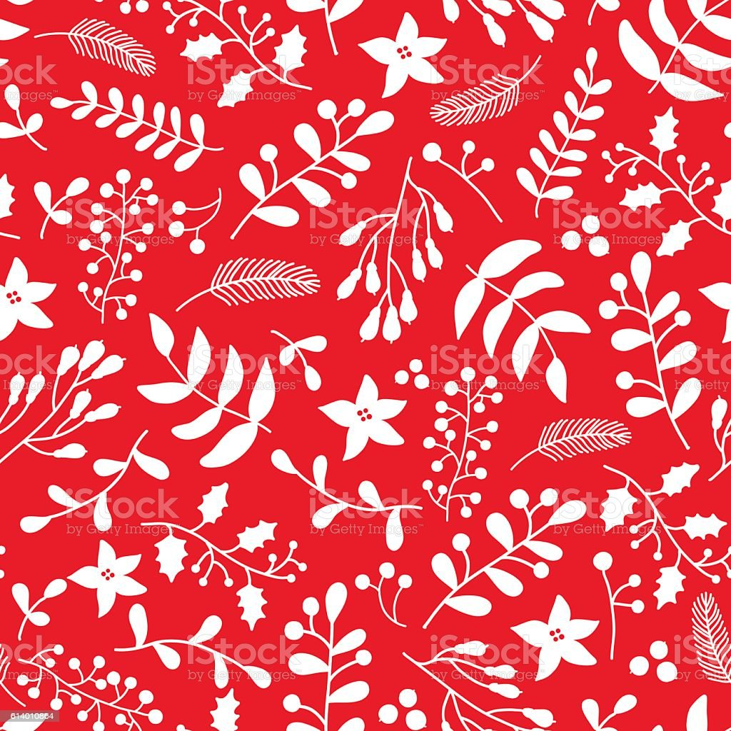 Christmas floral seamless vector pattern with holly, mistletoe a vector art illustration