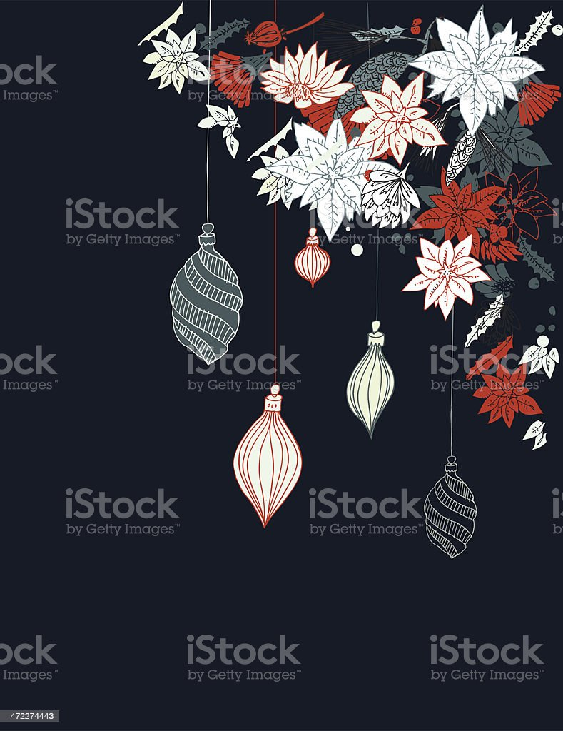 Christmas flowers and ornaments royalty-free stock vector art